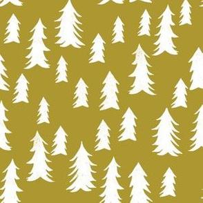 trees // forest woodland tree olive green mustard cute kids nursery print