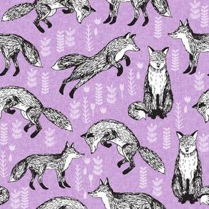 fox // woodland forest fox hand-drawn illustration purple lavender cute nursery kids print