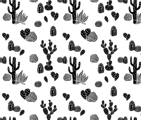Cactus // black and white modern minimal desert baby nursery fabric by andrea_lauren on Spoonflower - custom fabric
