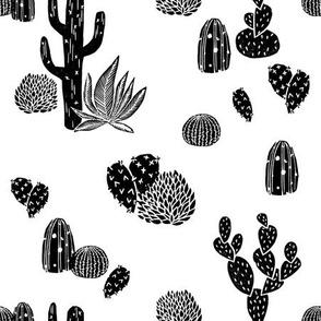 Cactus // black and white modern minimal desert baby nursery