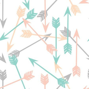 arrows scattered // peach pink mint and grey scattered arrows for nursery prints