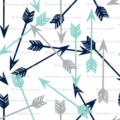 arrows scattered // dark navy mint grey charcoal boys southwest boys nursery baby boy print