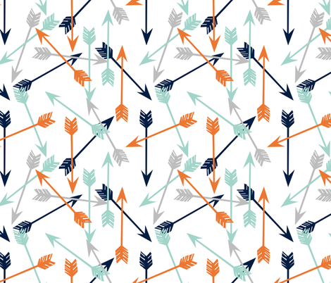arrows scattered // orange mint grey navy boys print fabric by andrea_lauren on Spoonflower - custom fabric