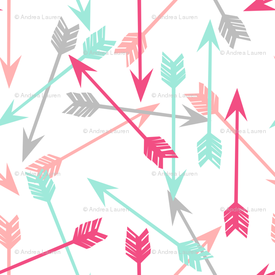 Arrows Scattered Pink Hot Grey Mint Girly Pastel Southwest Girls Room Decor Print Wallpaper