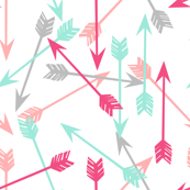 arrows scattered // pink hot pink grey mint girly pastel southwest girls room decor print