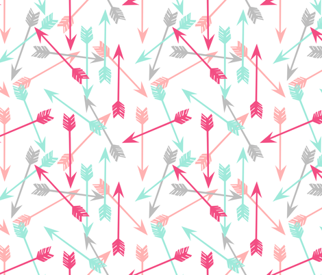 arrows scattered // pink hot pink grey mint girly pastel ...