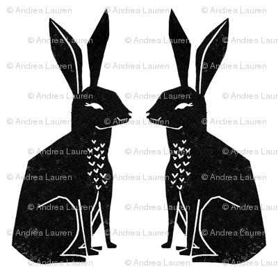 rabbit // bunny rabbit block print linocut black and white kids cute rabbits animals