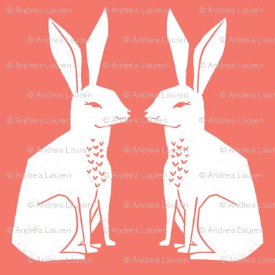 rabbit // block print coral nursery easter spring pastel