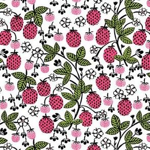strawberry garden // sweet linocut strawberry sweet garden gardening fruits flowers florals spring summer pink and green