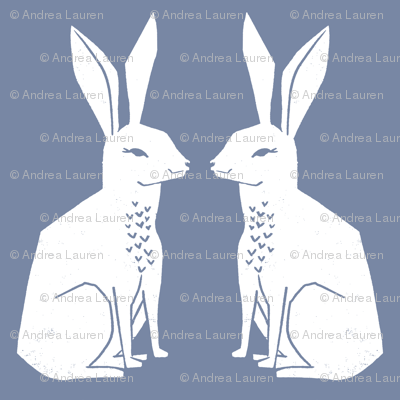 rabbit // block print blue easter kids nursery linocut andrea lauren