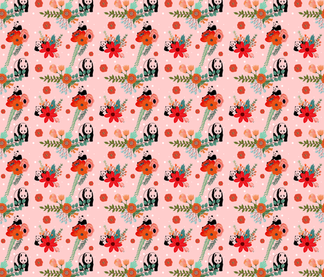 Panda & Red Flowers fabric by shopcabin on Spoonflower - custom fabric