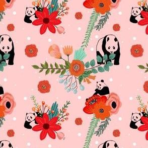 Panda & Red Flowers