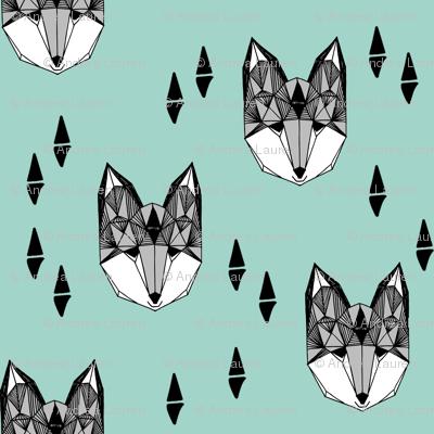 fox // mint and grey fox head geometric fox animal nursery baby kids
