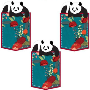 Panda in a Pocket with Red Flowers