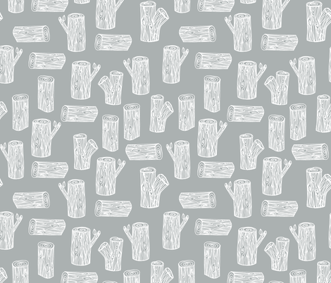 tree logs // grey white logs trees forest woodland  fabric by andrea_lauren on Spoonflower - custom fabric