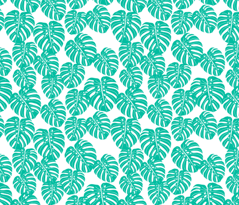 monstera // tropical palm print tree summer cheese plant houseplant trend fabric by andrea_lauren on Spoonflower - custom fabric