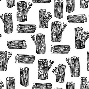 tree stump // black and white forest logs woodland black and white nursery