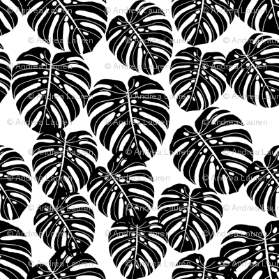 Monstera Leaf Fabric Palm Print Tropical Palm Black And
