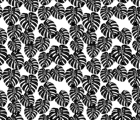monstera leaf fabric // palm print tropical palm black and white kids summer 2016 palm print trend fabric by andrea_lauren on Spoonflower - custom fabric