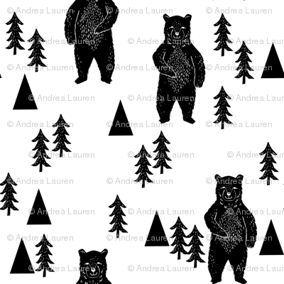 forest bear // black and white woodland mountain trees black and white