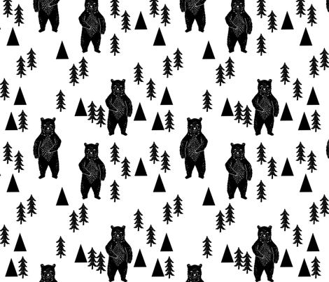 forest bear // black and white woodland mountain trees black and white fabric by andrea_lauren on Spoonflower - custom fabric