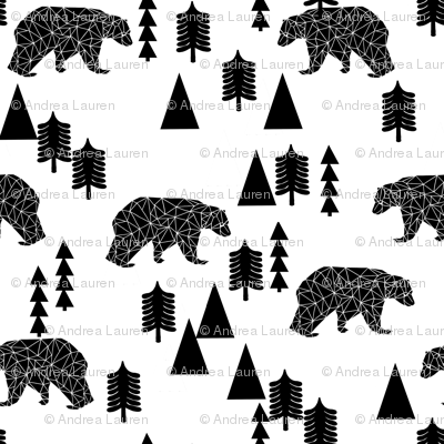 bear forest // black and white kids nursery trend baby woodland scandi home decor