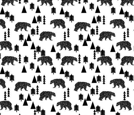 bear forest // black and white kids nursery trend baby woodland scandi home decor fabric by andrea_lauren on Spoonflower - custom fabric