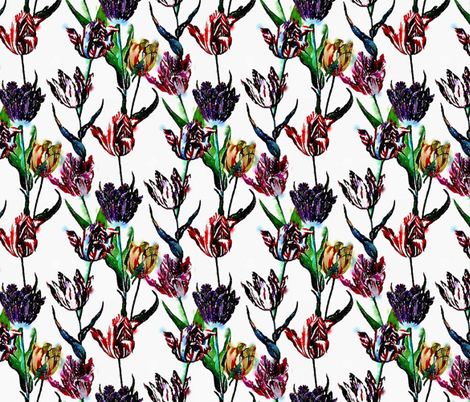 Watercolor tulips on a white ground fabric by nlsd on Spoonflower - custom fabric