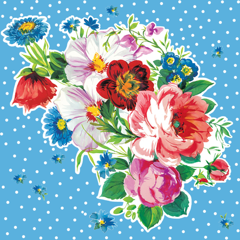 Swedish Bouquet in Swedish blue fabric by lilyoake on Spoonflower - custom fabric