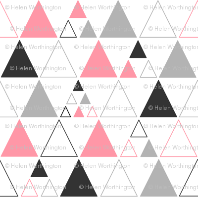 Triangles - Stacked in Coral Gray Charcoal
