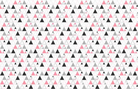 Triangles - Stacked in Coral Gray Charcoal  fabric by cavutoodesigns on Spoonflower - custom fabric