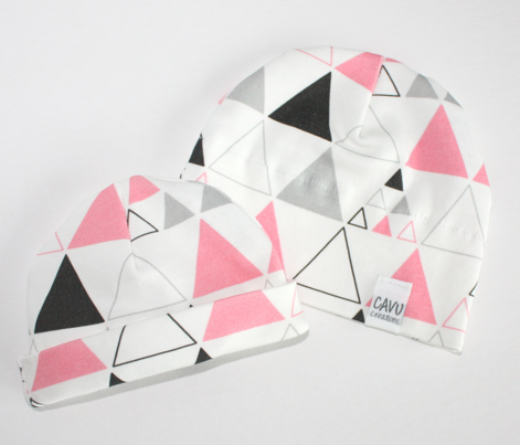 Triangles - Large Stacked in Coral Gray Charcoal LARGE