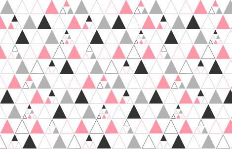 Triangles - Large Stacked in Coral Gray Charcoal LARGE fabric by cavutoodesigns on Spoonflower - custom fabric