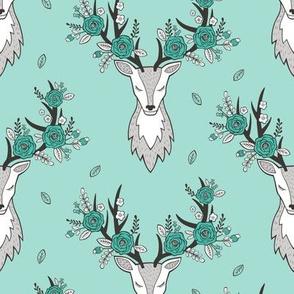 Deer Head in Mint Green