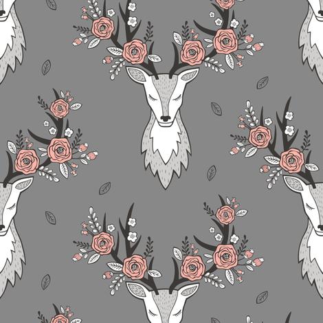 Deer Head on Dark Grey fabric by caja_design on Spoonflower - custom fabric