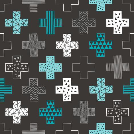 Crosses Plus Sign Aqua Blue on Black fabric by caja_design on Spoonflower - custom fabric