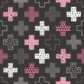 Crosses Plus Sign Pink on Black