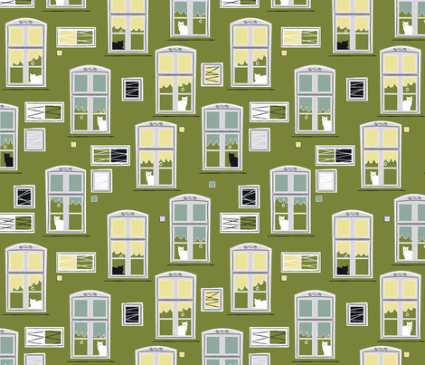 Cats in windows dark green fabric by overbye on Spoonflower - custom fabric