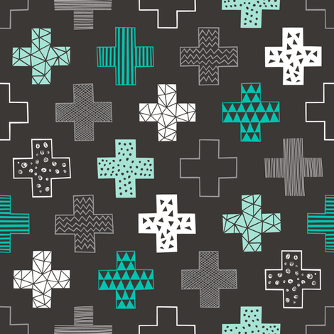 Crosses Plus Sign Mint Green on Black fabric by caja_design on Spoonflower - custom fabric
