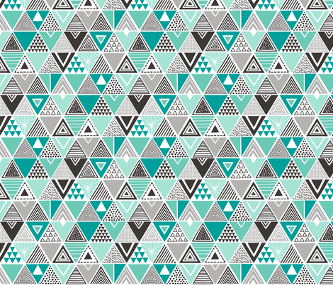 Geometric Triangles Mint Green Black&White  fabric by caja_design on Spoonflower - custom fabric