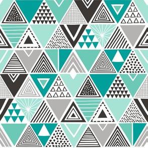 Geometric Triangles Mint Green Black&White