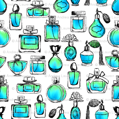 perfume // aqua watercolor perfume bottles vintage beauty makeup perfume design vintage bottles perfume