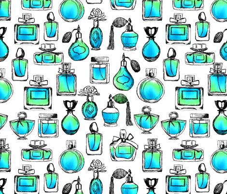 perfume // aqua watercolor perfume bottles vintage beauty makeup perfume design vintage bottles perfume fabric by andrea_lauren on Spoonflower - custom fabric