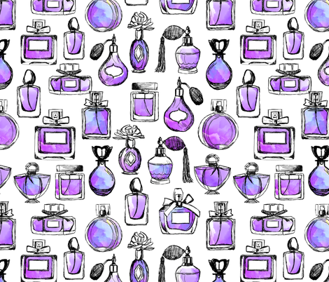 perfume // watercolor purple vintage perfume bottles makeup beauty girls sweet fashion illustration fabric by andrea_lauren on Spoonflower - custom fabric