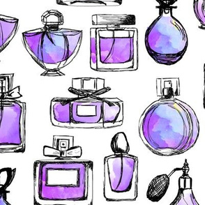 perfume // watercolor purple vintage perfume bottles makeup beauty girls sweet fashion illustration