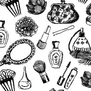 vintage makeup // black and white illustration vintage girls pattern