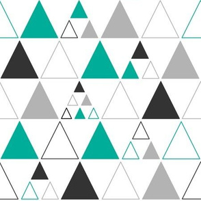 Triangles - Large Stacked in Teal Gray Charcoal