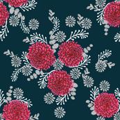Chrysanthemum // florals flower  Love Valentines Day Red Girly flowers vintage elegant illustration pattern