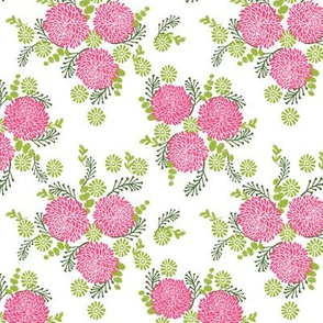 chrysanthemums // pink and green flowers floral repeating print for decor and garden projects