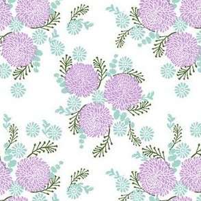 chrysanthemum // lilac and mint pastel florals flower print for little girls